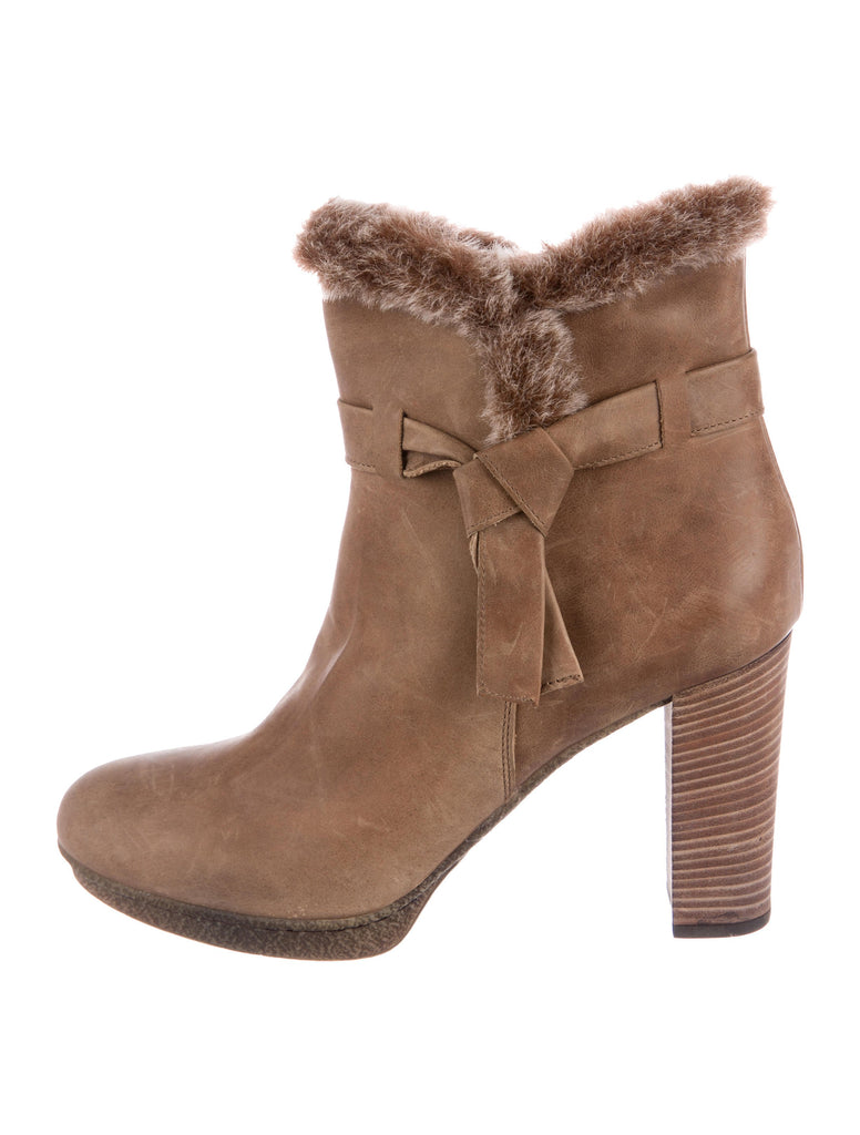 Aquatalia Light Brown Shearling Trimmed Round Toe Ankle Boots/Booties 7M