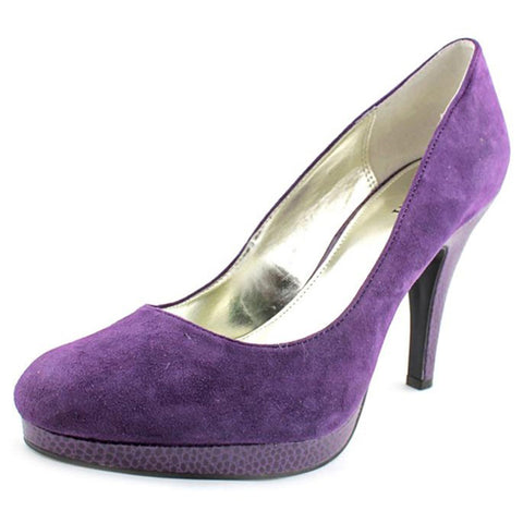 Alfani Maddy Acai Purple Suede Leather Round Toe Heels Size 8.5 M