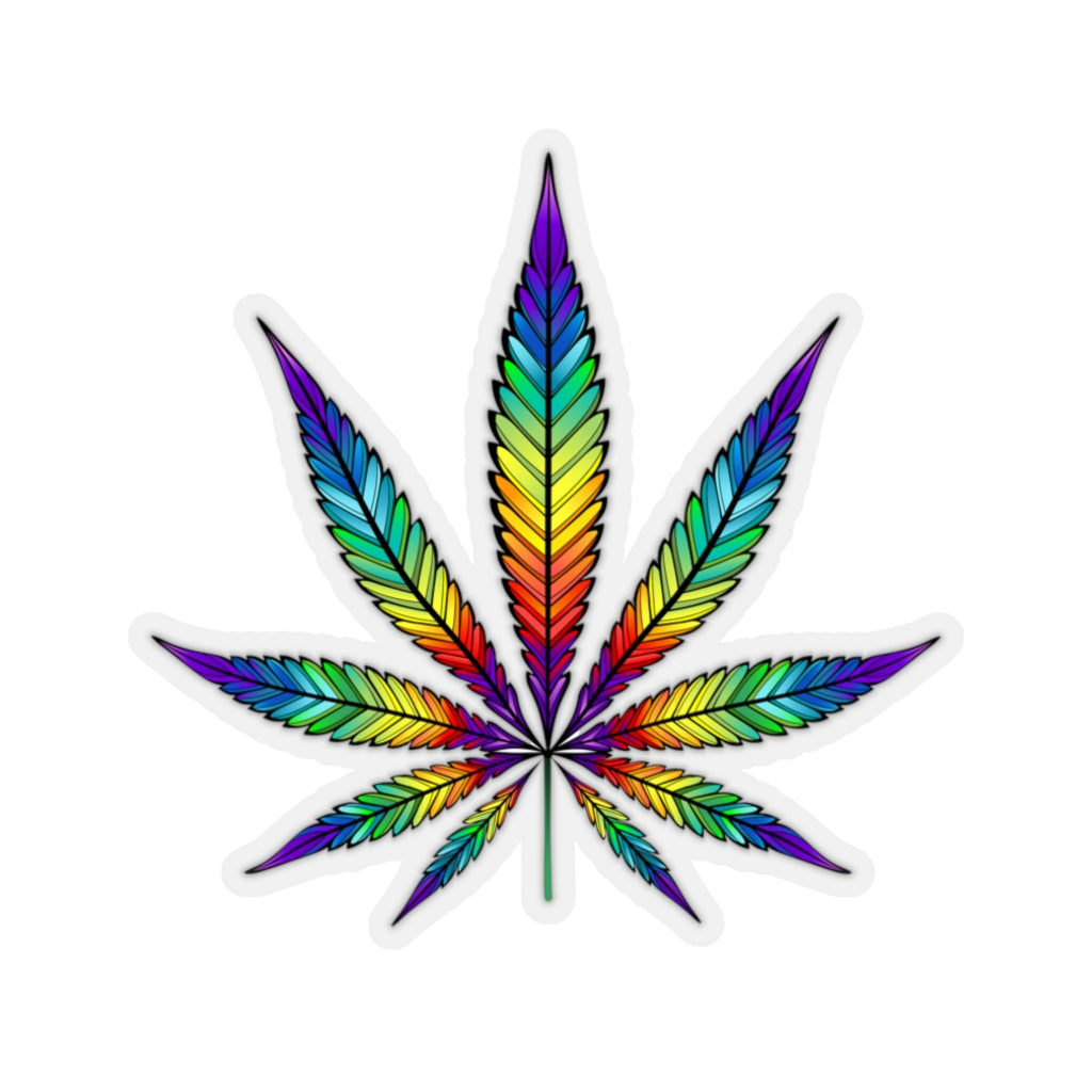 Marijuana Gift, Rainbow Sticker, Cannabis Leaf, Pot Smoking Weed 420 Stoner