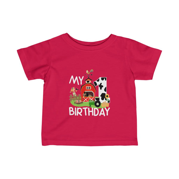My 1st Birthday Farm Green Tractor Infant Fine Jersey Tee