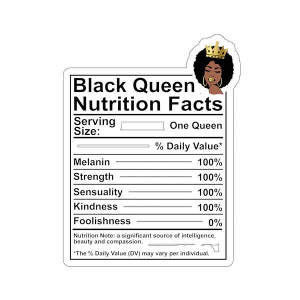 Black Queen Nutrition Facts Sticker, BLM Culture, Afro Woman, Afrocentric Brown Skin Diva Girl, Goddess Car Window Decal, Laptop Hydro Flask