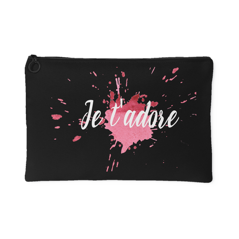 Je T'Adore (I Adore You) Zipper Accessory Clutch in 2 Sizes