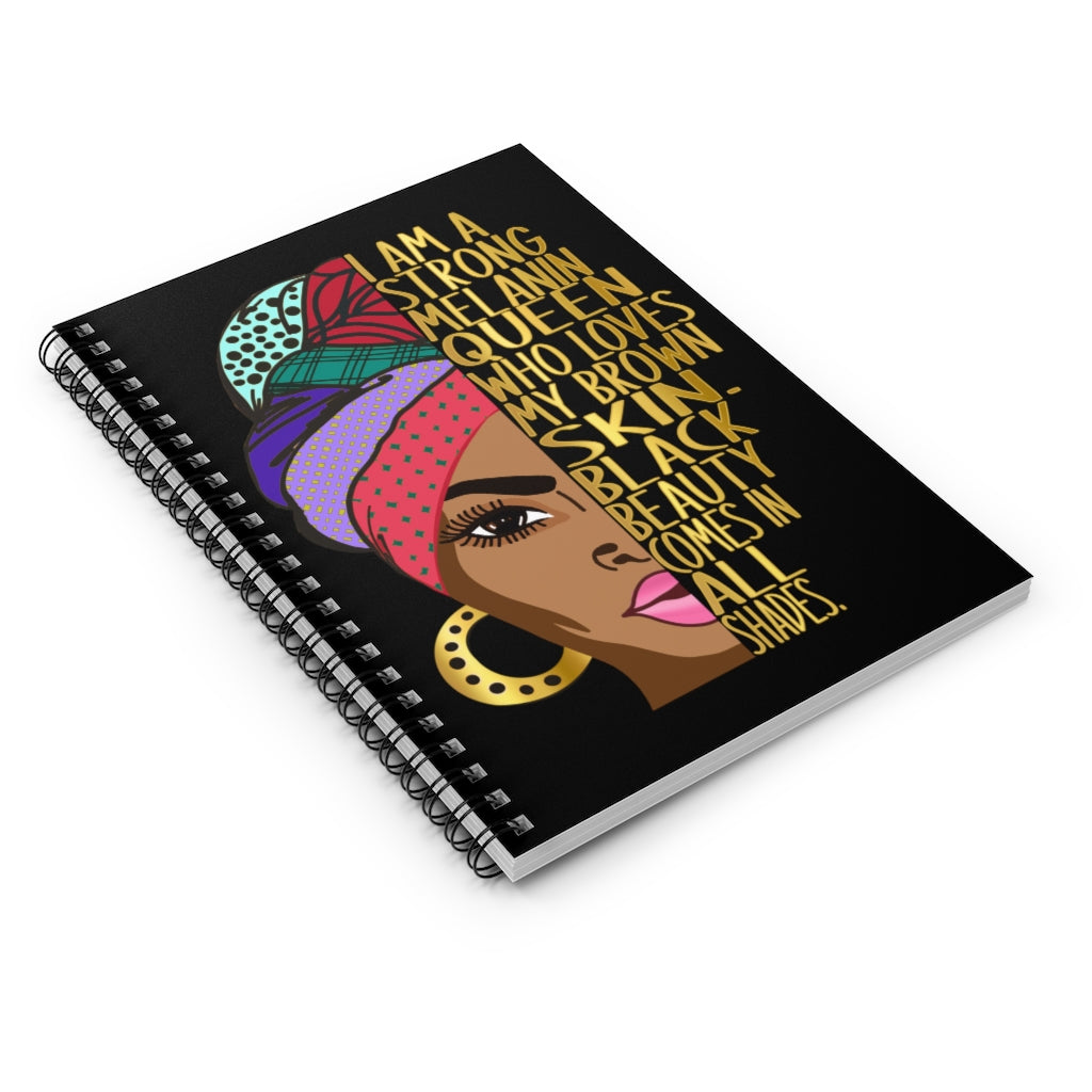 I Am A Strong Melanin Queen, Black Nurse Art Print Spiral Notebook, Custom Ruled Line, Nursing School Notes, Black Girl Journal Planner