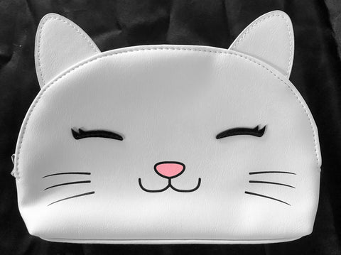 Grinning Cat with Eyelashes Faux Leather Cosmetic Case / Clutch / Purse