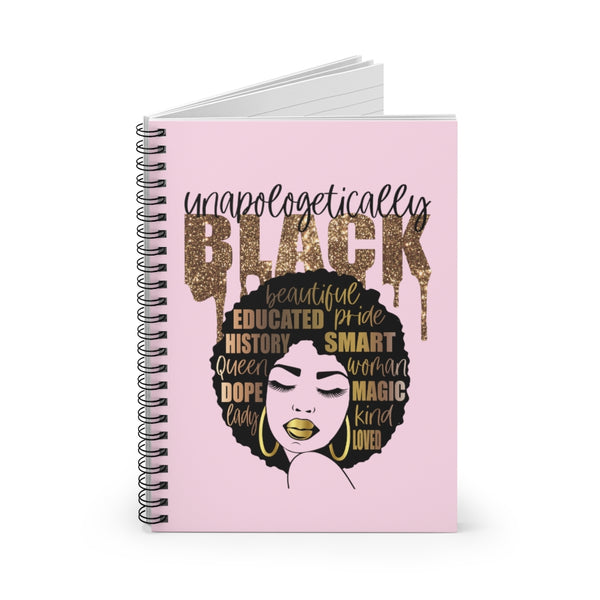 Unapologetically Black Notebook, Spiral Notebook, Ruled Line, Custom Notebook, Lined Notebook, School Notebook, Black Girl Journal,Afro Girl