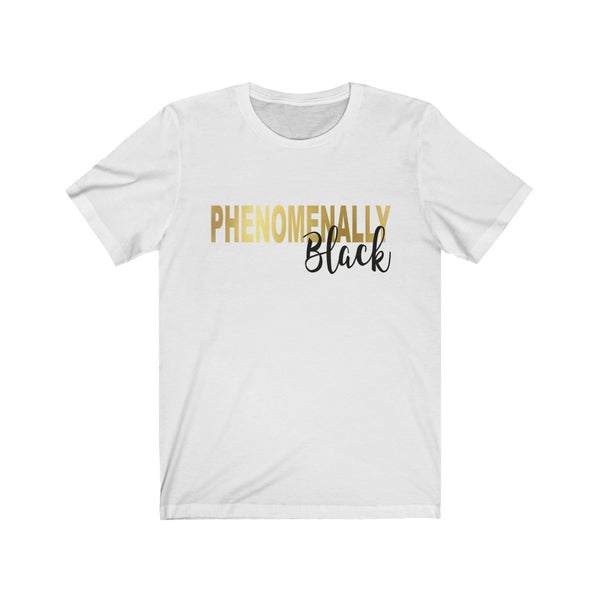Phenomenally Black Gold & Black Text B+C Unisex Jersey Short Sleeve Tee