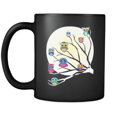 Whimsical Owls in Tree & Full Moon 11 oz Black Coffee Mug