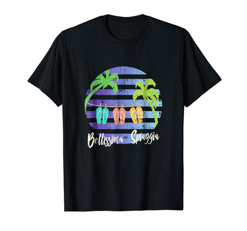 Italian Simple Girl Shirt Summer Palm Tree Flip Flops Beach