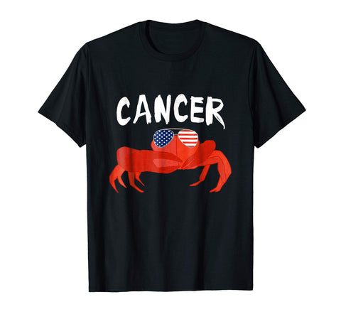 Cancer Crab Zodiac Sign Astrology Shirt USA Flag Sunglasses