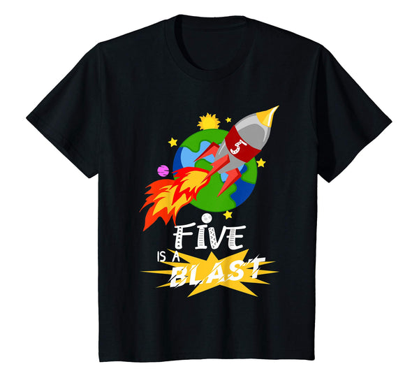 Five Is A Blast 5 Years Old 5th Birthday Space Rocket Shirt