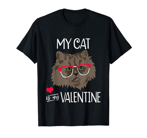 My Cat Is My Valentine Shirt Funny Tabby Fur Mama Heart Gift