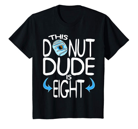 Kids Boys 8th Birthday Donut Shirt You Know I'm 8 Years Old