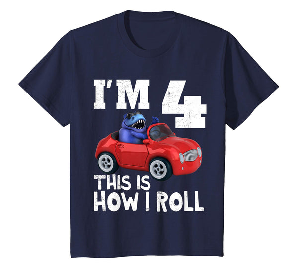 Kids T-Rex Dinosaur Birthday Party T-Shirt This Is How I Roll Red Car Personalized Gift for Boy Girl All Ages 1 2 3 4 5 6 7 8 9 10 Years Old