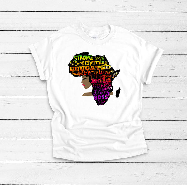 Africa Shirt, Black Empowerment, Black Queen Shirt, Black Lives Matter, Melanin Shirt, Black History Shirt, Black and Educated, Afro Girl