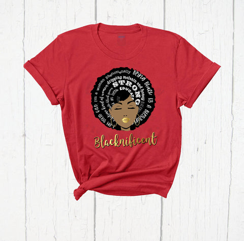 Blacknificent Shirt, Afro Girl Shirt, Rosa Parks Shirt, Black Empowerment, Black Power Tee, Black Lives Matter, Melanin Shirt, Faux Gold Tee