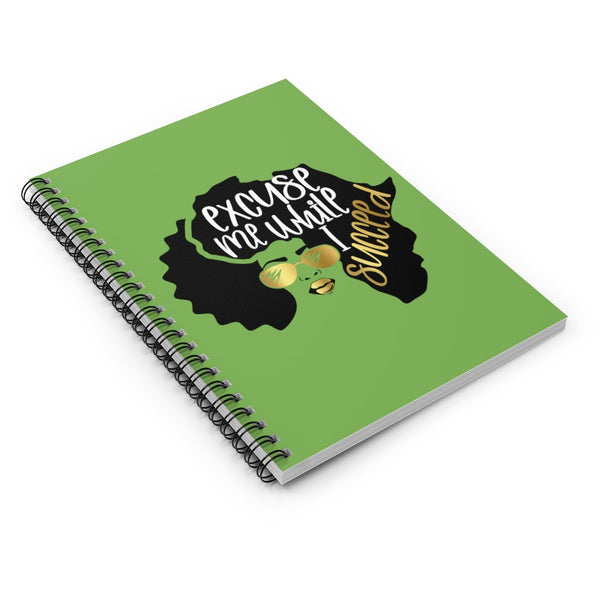 Excuse Me While I Succeed Notebook, Spiral Notebook, Ruled Line, Custom Notebook, Lined Notebook, School Notebook, Black Girl Journal, BAE