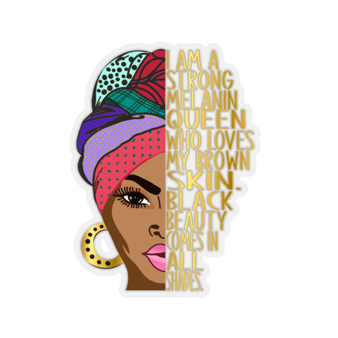 I Am A Strong Melanin Queen Sticker, Anti Racism, Brown Skin, BLM Nubian Afro Woman, Goddess Window Decal, Black Power, Laptop Hydro Flask
