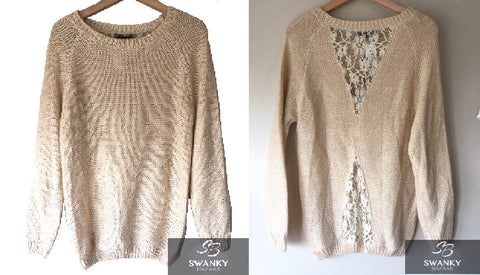 Katsumi Lace Inset on Back Tunic Length Sweater in Beige & Gold Metallic, Size M