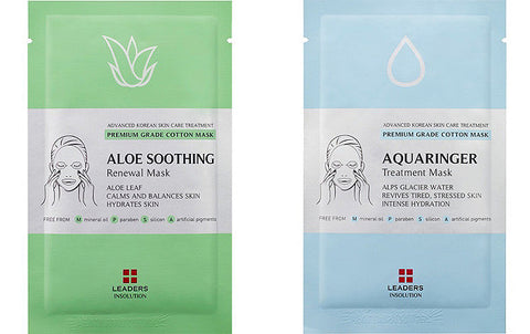 Leaders Insolution Aloe Soothing Renewal & Aquaringer Treatment Masks