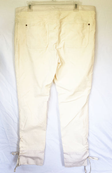 Anthropologie Leifsdottir Velvet with Cotton Trim Lace Up Ankle Pants, Size 14 - Swanky Bazaar - 2