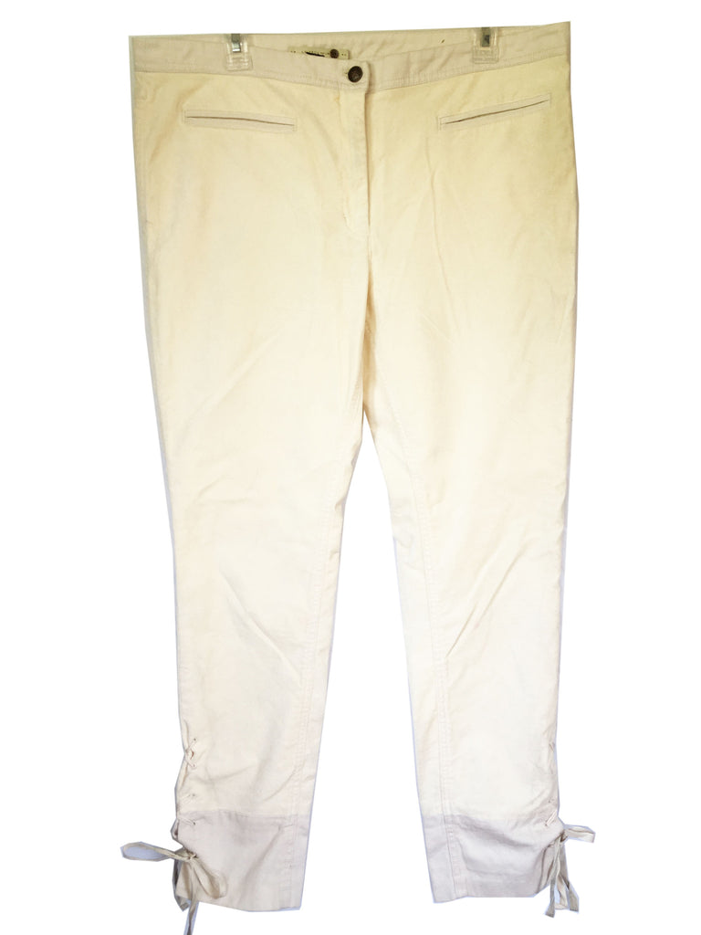 Anthropologie Leifsdottir Velvet with Cotton Trim Lace Up Ankle Pants, Size 14 - Swanky Bazaar - 1