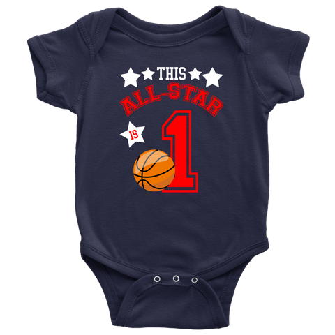 This All-Star Is 1 Basketball Onesie Bodysuit