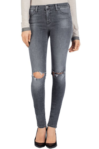 J Brand 620 Close Cut Super Skinny Mid-Rise Destroyed Jeans in Nemesis, Size 28 - Swanky Bazaar - 1