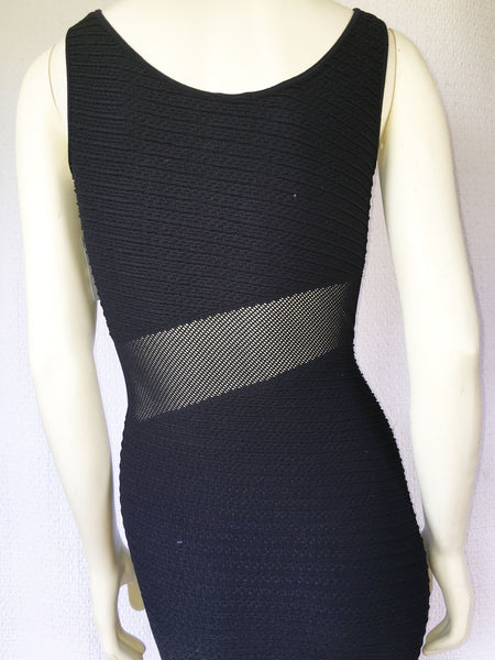 NUX Textured Tank BodyCon Dress with Mesh Inset Panel in Black, Size M/L - Swanky Bazaar - 2