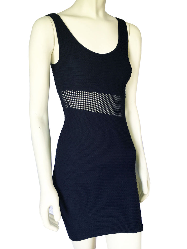 NUX Textured Tank BodyCon Dress with Mesh Inset Panel in Black, Size M/L - Swanky Bazaar - 1