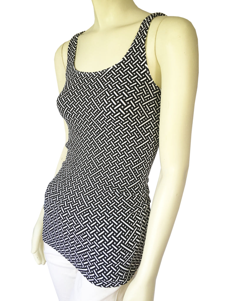 NUX Black and White Textured Weave Tank Top, Size: One Size - Swanky Bazaar