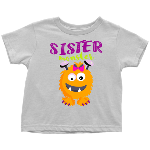 Sister Monster T-Shirt for Girls Halloween Costume for Toddler