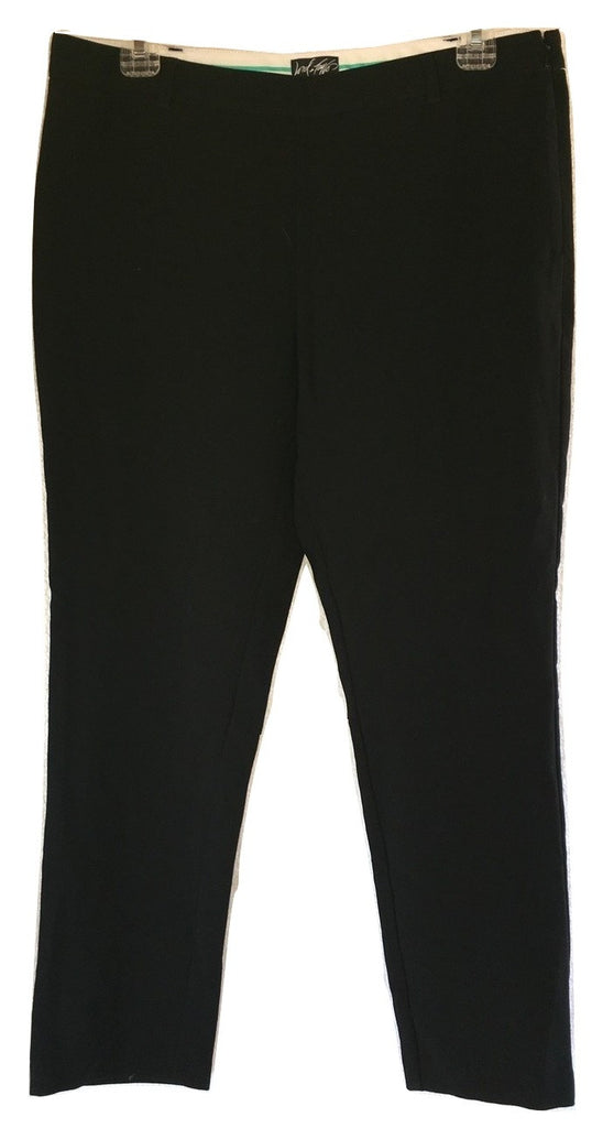 Lord & Taylor Mid-Rise Side Zip Ankle Trouser Pants in Black, Size 8 - Swanky Bazaar - 1