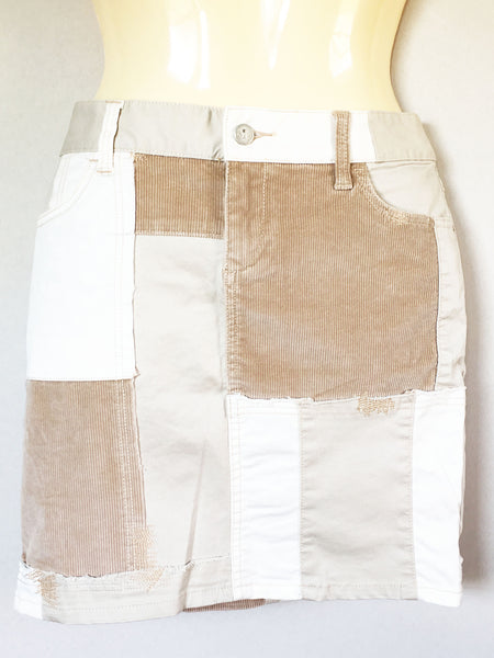 Anthropologie Pilcro and the Letterpress Neutral Patchwork Skirt, Size 26
