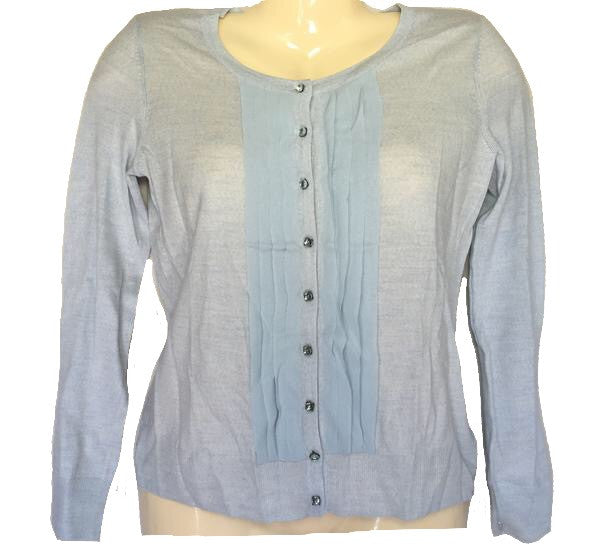Talbots Blue Italian Merino Wool with Pleated Silk Trim Cardigan Sweater Sz XS