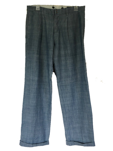 Anthropologie Elizabeth and James Pleated Button Fly Cuffed Chambray Pants Sz 31