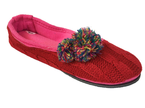 Isotoner Sweater Knit & Fleece Ballet Style Slippers with Pom Poms, Size S