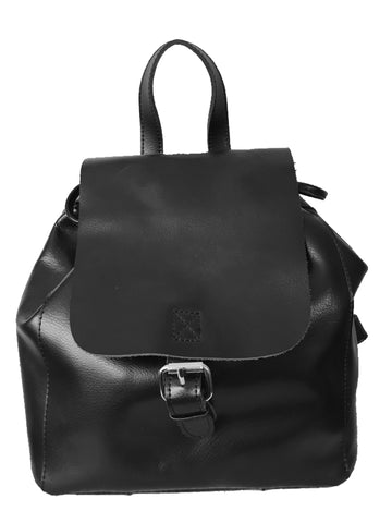 Co-lab Christopher Kon $189 Adjustable Straps Flap Over Black Leather Backpack