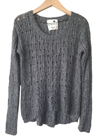 Anthropologie Kensie Pieces Lacey High-Low Sweater in Metallic Silver/Gray, Sz S