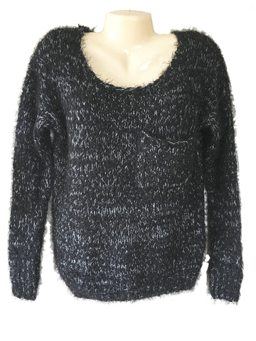 LF Stores Sweewe Paris Long Sleeve Loose Knit Fuzzy Marled Yarn Sweater Size M/L