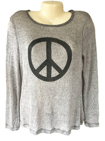 Dylan by True Grit Peace Sign on Lightweight Loose Knit Pullover Sweater, Size M