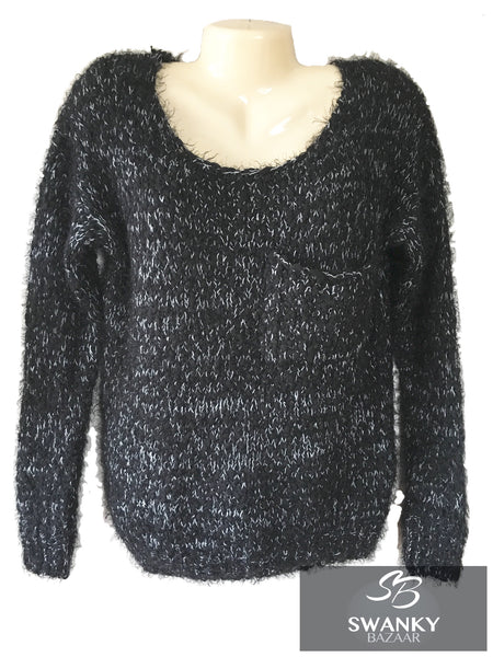 Sweewe Paris Loose Knit Fuzzy Marled Pullover Sweater in Black/White, Size S/M