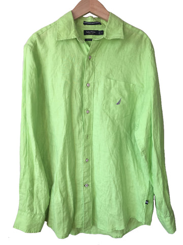 Nautica Mens Green Solid Linen Classic Fit Long Sleeve Button Up Shirt Size M