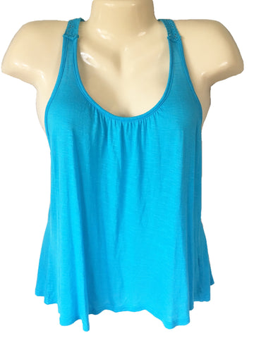 Emma & Sam Crocheted Lace T-Back Tank Top in Turquoise Blue, Size M