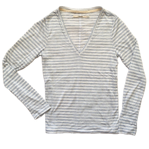 J Brand Long Sleeve V-Neck Striped Sheer Knit Tee T-Shirt, Size XS