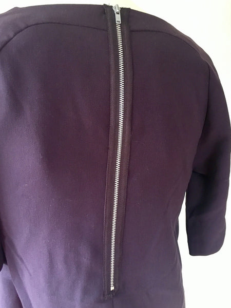 Wera Stockholm Cropped Sleeve Exposed Back Zip Stretch Weave Top Size 34