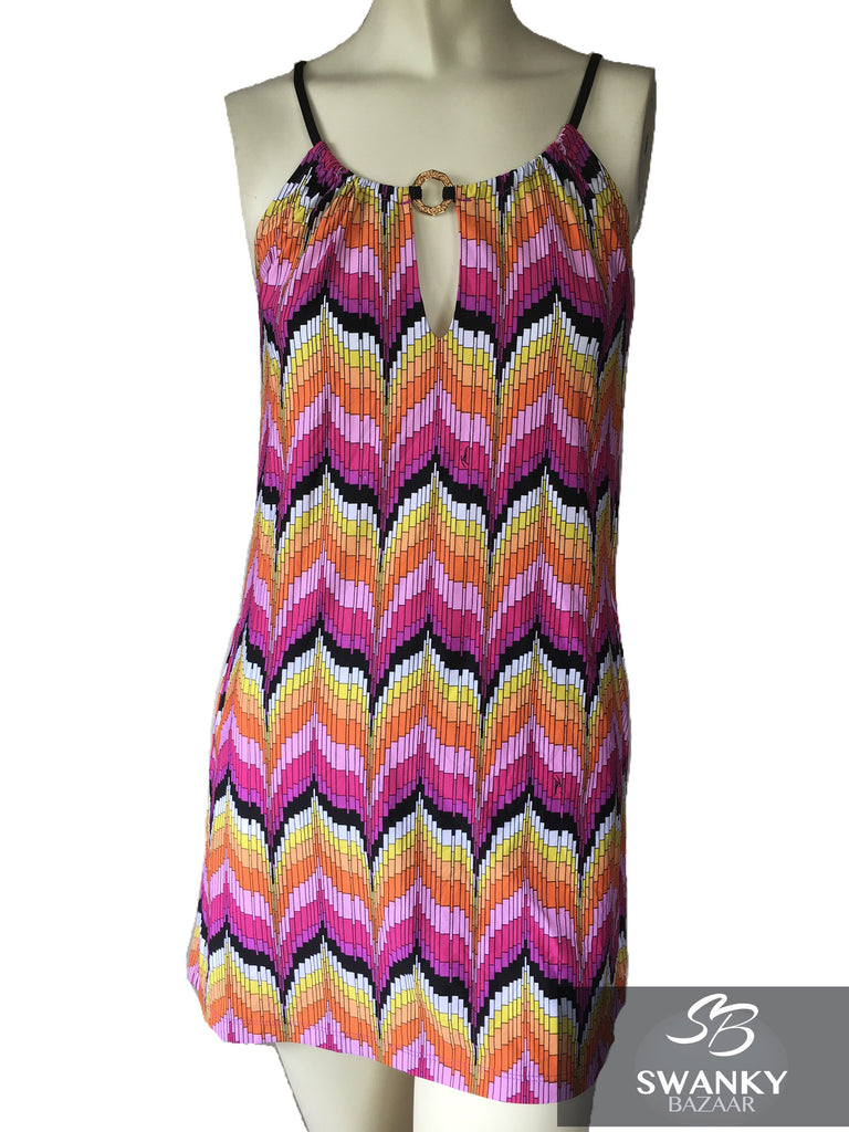 Trina Turk Swimwear Geometric Chevron Print Keyhole Short Dress Cover-Up Sz S