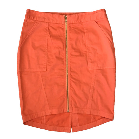 Trina Turk Ellen Orange Zip Front High Low Hem Stretch Mini Skirt Size S
