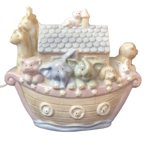 Russ Berrie Pastel Glazed Ceramic Noah's Ark Nursery Table Night Light