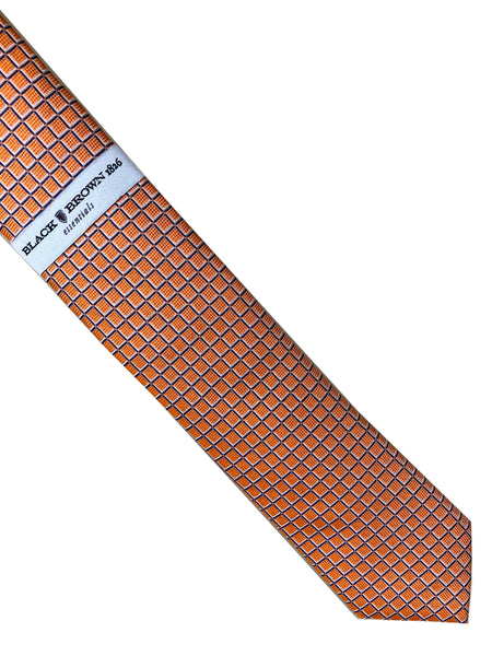 "Black Brown 1826 Essentials Orange Blue White 61"" Long Skinny 100% Silk Tie"
