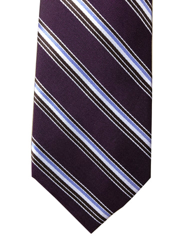"Perry Ellis Portfolio Purple Stripe 100% Silk Hand Made 60"" Long Classic Tie"